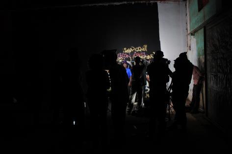Kulisse for optagelse af musikvideo med hiphopgruppen Luga Flow Army i Kampala. Foto af Lisbeth Kristine Olesen